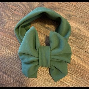 Olive green Messy Bow Headwrap